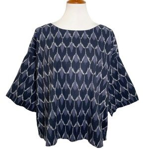 J Jill Navy Blue Ikat Boxy Drop Shoulder Blouse
